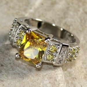 Jewelry - Yellow Citrine CZ Rectangular Silver Ring